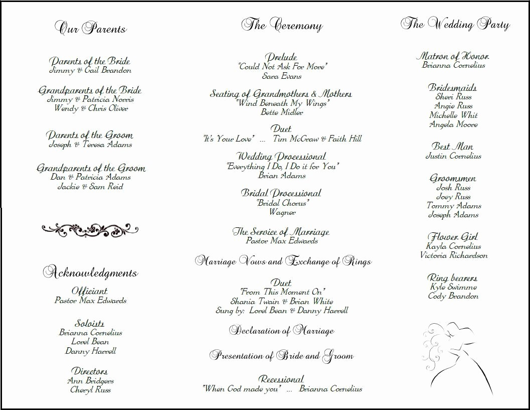 Free Wedding Ceremony Program Template Fresh Example Of Wedding Programs