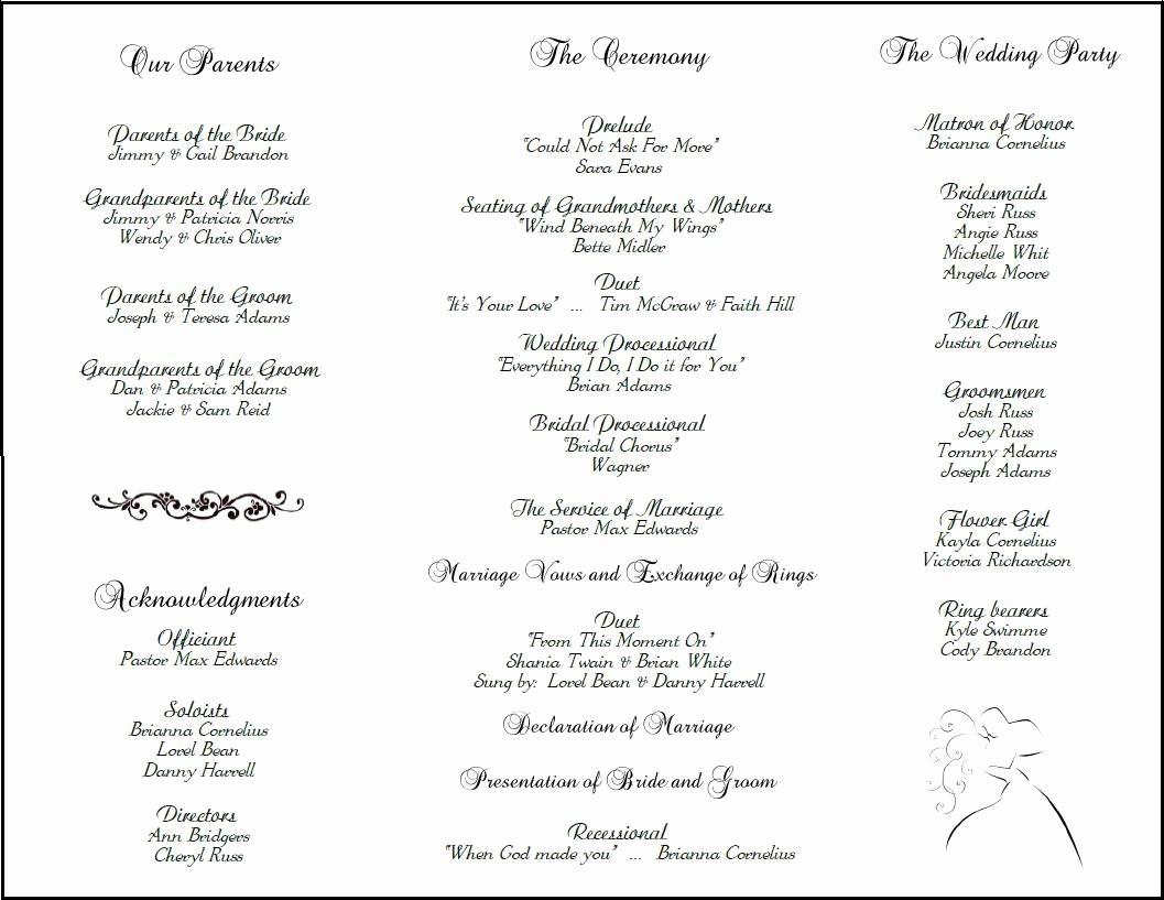 Free Wedding Ceremony Program Template Fresh Example Of Wedding Programs