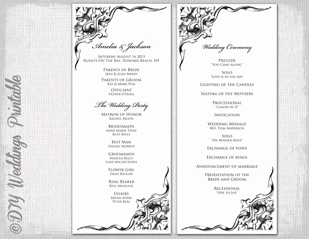 Free Wedding Ceremony Program Template Fresh Wedding Program Template Black & White Wedding Program Black