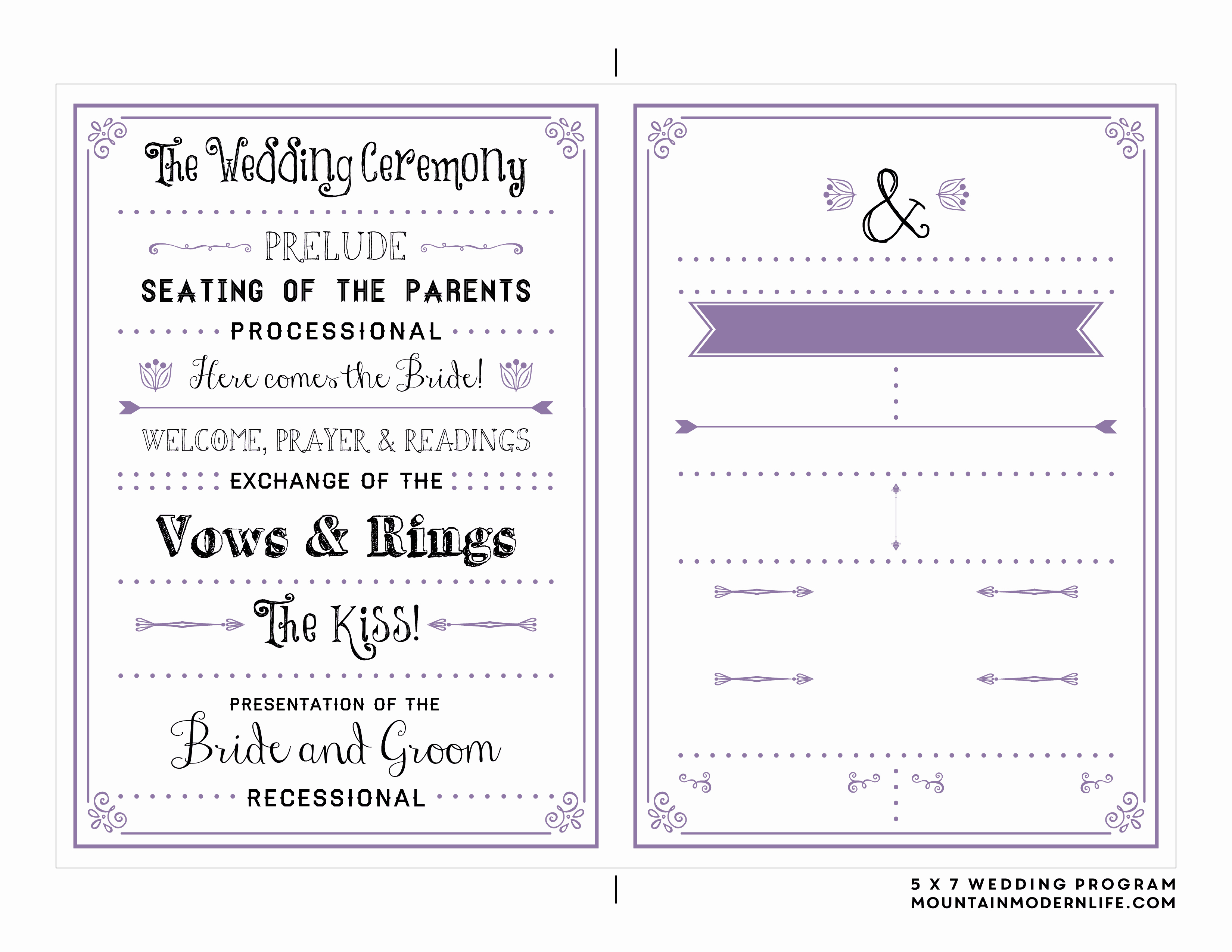 Free Wedding Ceremony Program Template Inspirational Free Printable Wedding Program