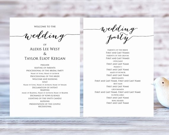 Free Wedding Ceremony Program Template Lovely Wedding Program Templates Ceremony Program Template Diy