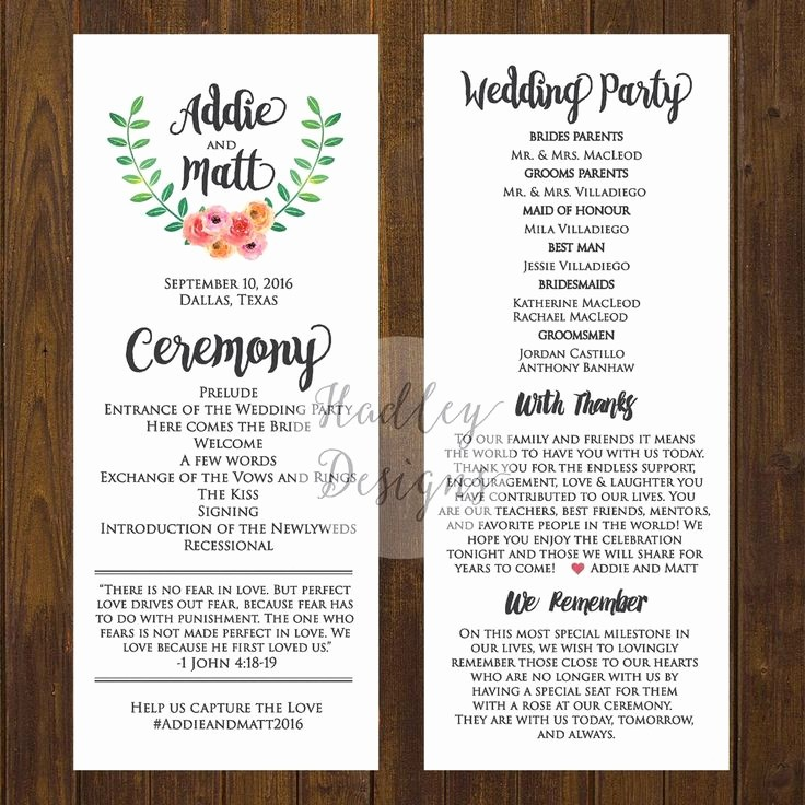 Free Wedding Ceremony Program Template Lovely Wedding Programs Wedding Ceremony Programs Wedding