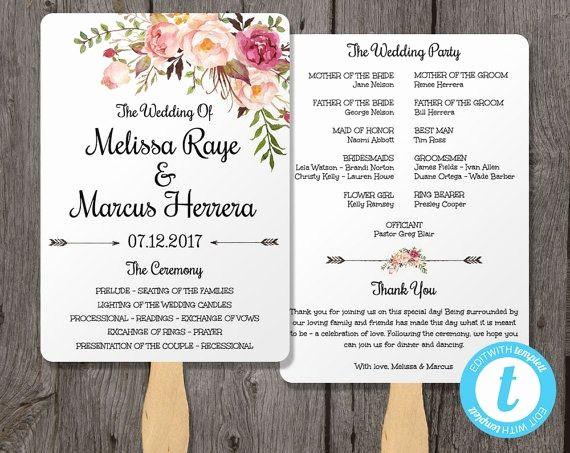 Free Wedding Ceremony Program Template Luxury Pink Floral Wedding Program Fan Template Bohemian Floral