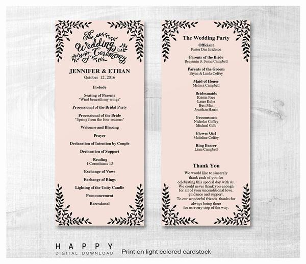 Free Wedding Ceremony Program Template Luxury Rustic Leaves Ceremony Program Templates Happy Digital