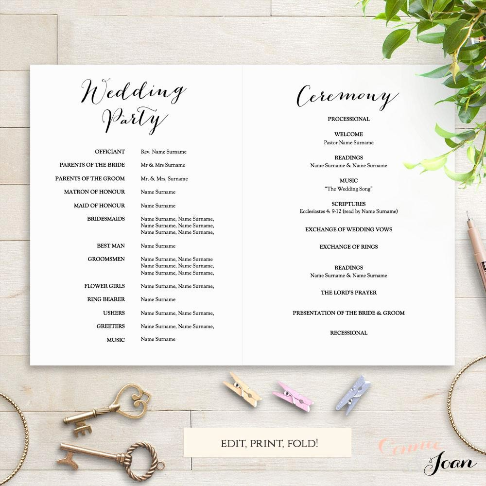 Free Wedding Ceremony Program Template Luxury Sweet Bomb Printable Folded Wedding order Of Service