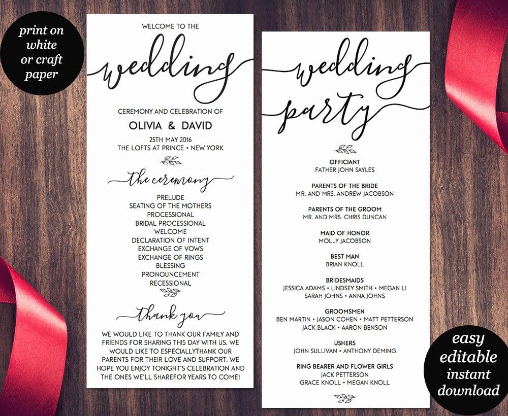 Free Wedding Ceremony Program Template Luxury Wedding Program Template Printable Wedding Program Wedding
