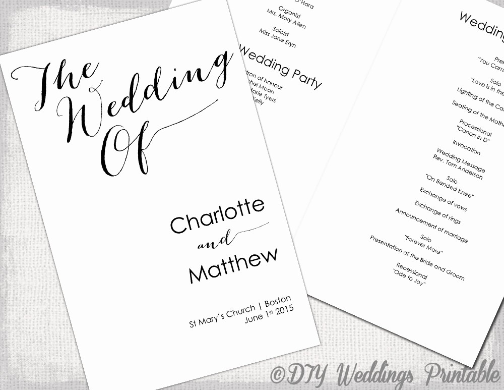 Free Wedding Ceremony Program Template New Wedding Program Template Calligraphy Black & White Printable