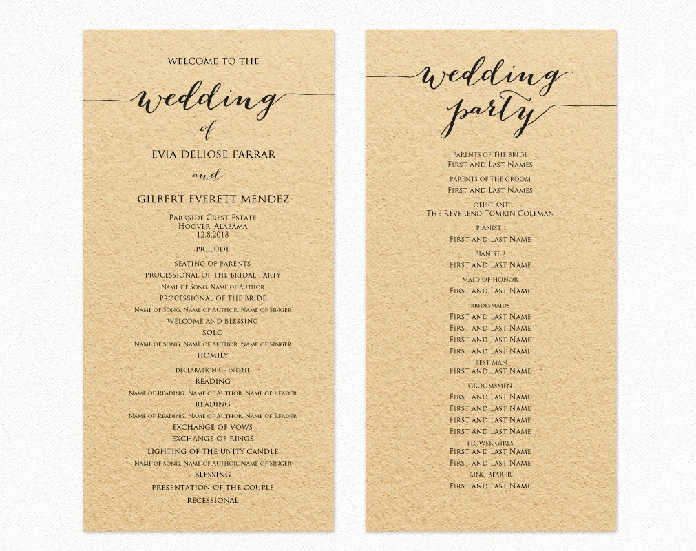 Free Wedding Ceremony Program Template New Wedding Program Template Wedding Program Cards