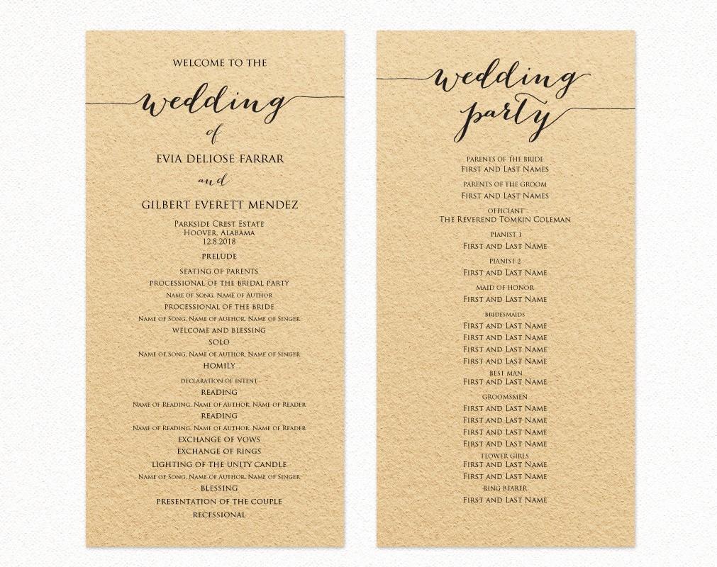 Free Wedding Ceremony Program Template New Wedding Program Template Wedding Program Cards