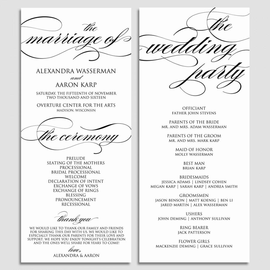 Free Wedding Ceremony Program Template New Wedding Program Template Wedding Program Printable