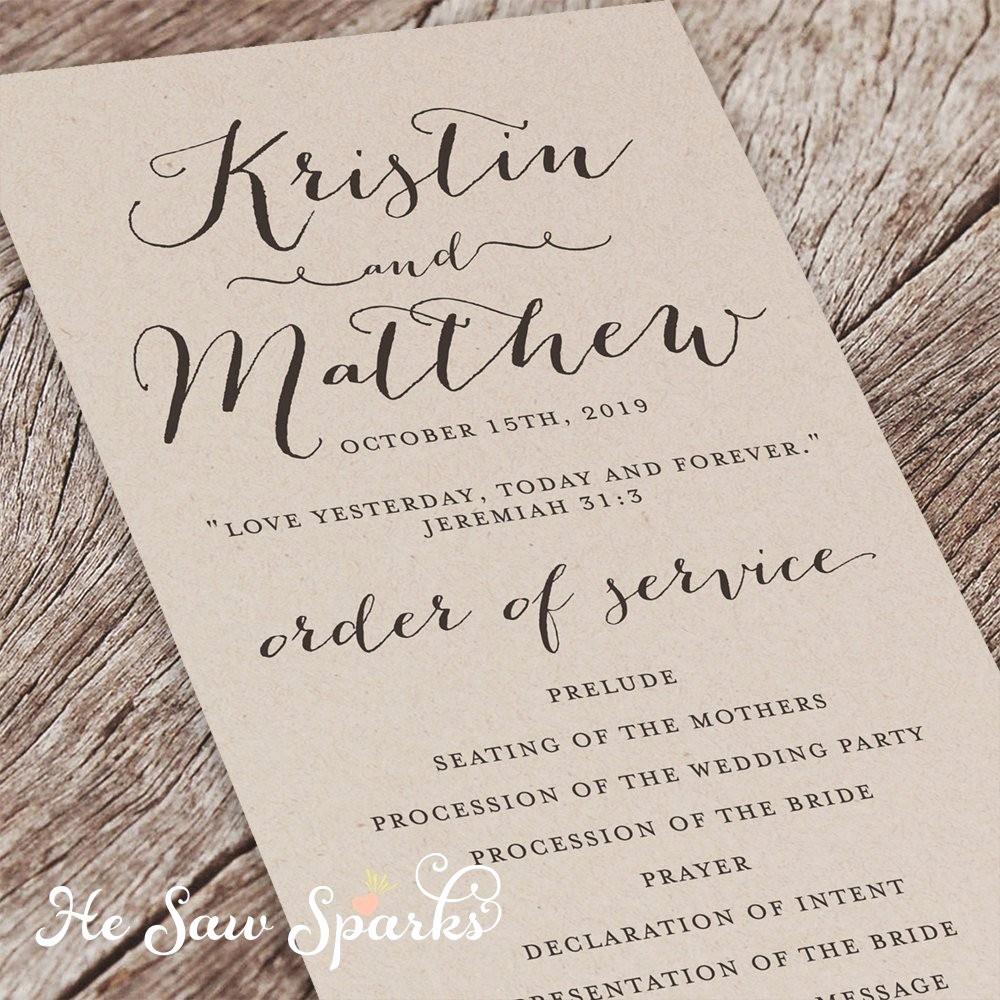 Free Wedding Ceremony Program Template Unique Printable Wedding Program Eternity