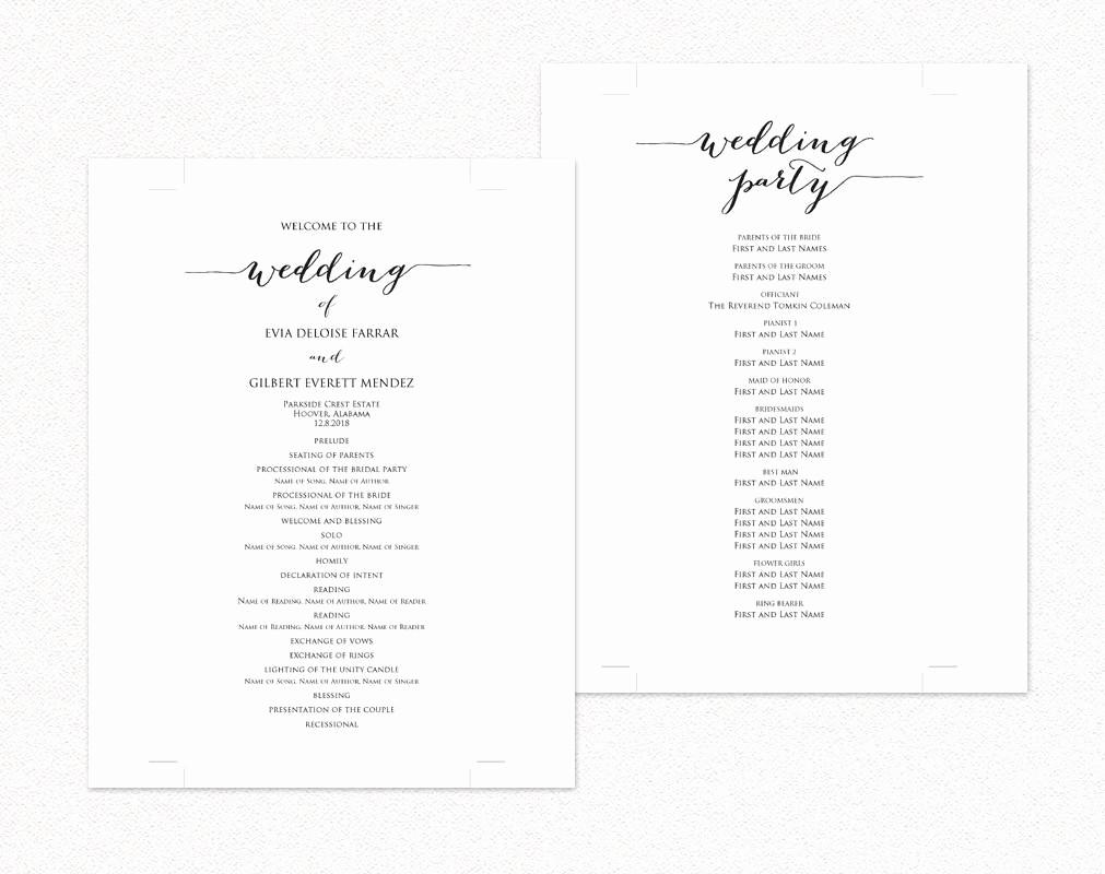 Free Wedding Ceremony Program Template Unique Wedding Ceremony Program Templates · Wedding Templates and