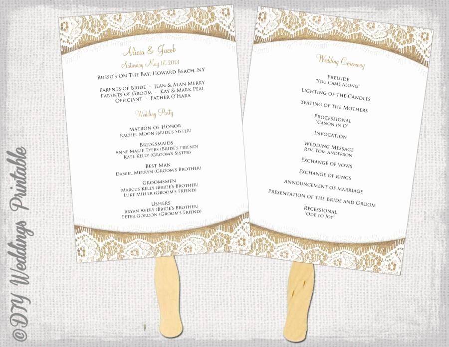 "Free Wedding Ceremony Program Template Unique Wedding Program Fan Template Rustic ""burlap & Lace"" Diy"