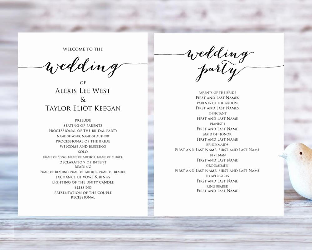 Free Wedding Ceremony Program Template Unique Wedding Program Templates · Wedding Templates and Printables