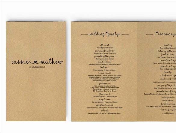 Free Wedding Program Template Downloads Elegant Wedding Program Template 41 Free Word Pdf Psd