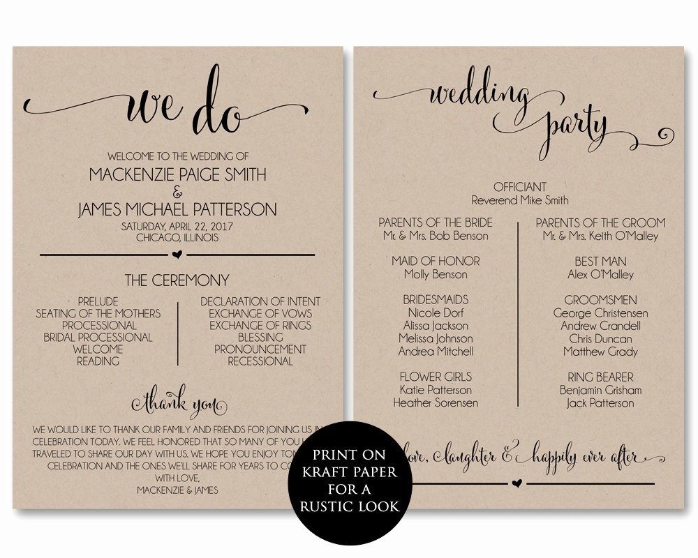 Free Wedding Program Template Downloads Elegant Wedding Program Template Wedding Program Printable We Do