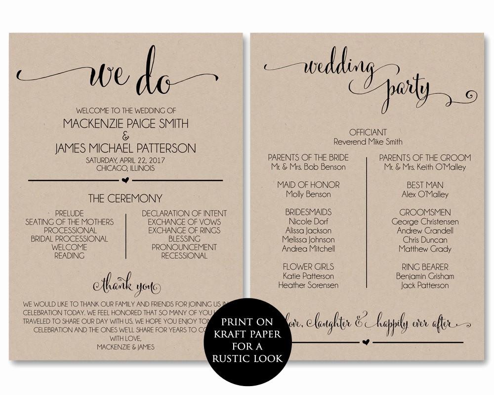 Free Wedding Program Template Downloads Elegant Wedding Program Template Wedding Program Printable We Do