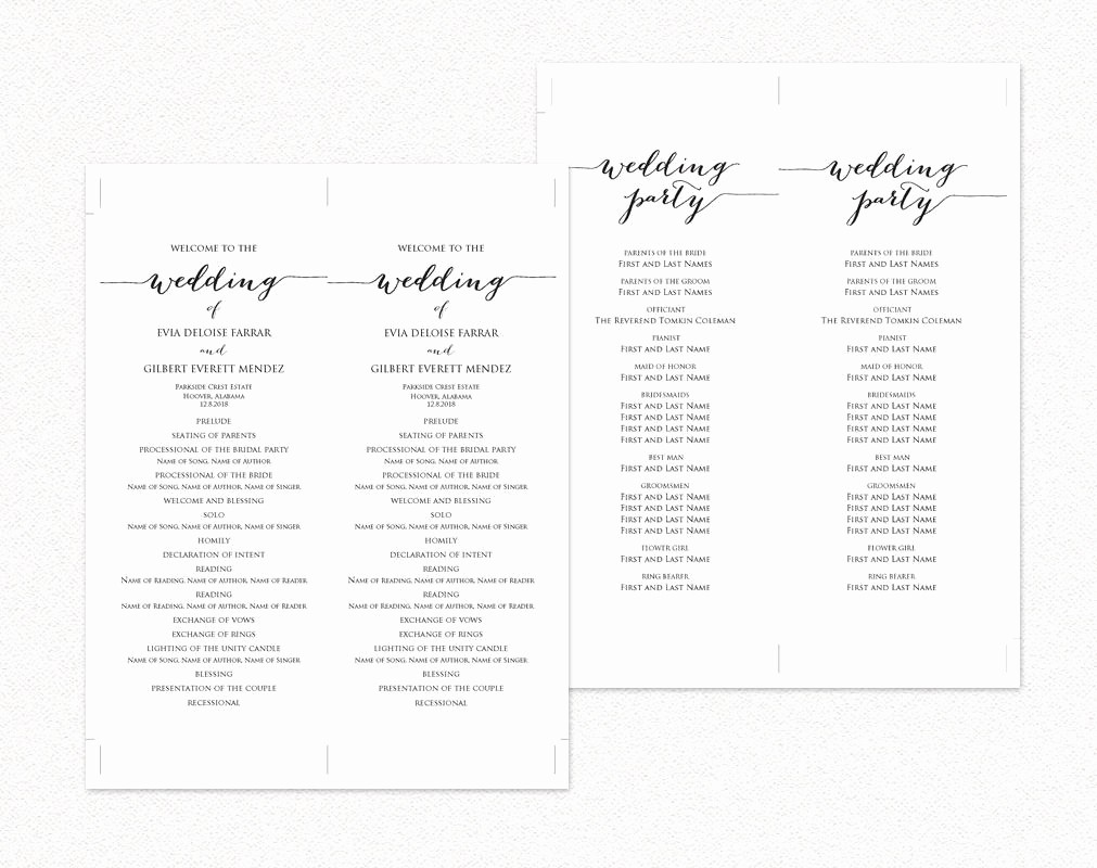 Free Wedding Program Template Downloads Fresh Wedding Ceremony Program Templates · Wedding Templates and