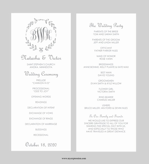 Free Wedding Program Template Downloads Inspirational 40 Free Wedding Templates In Microsoft Word format