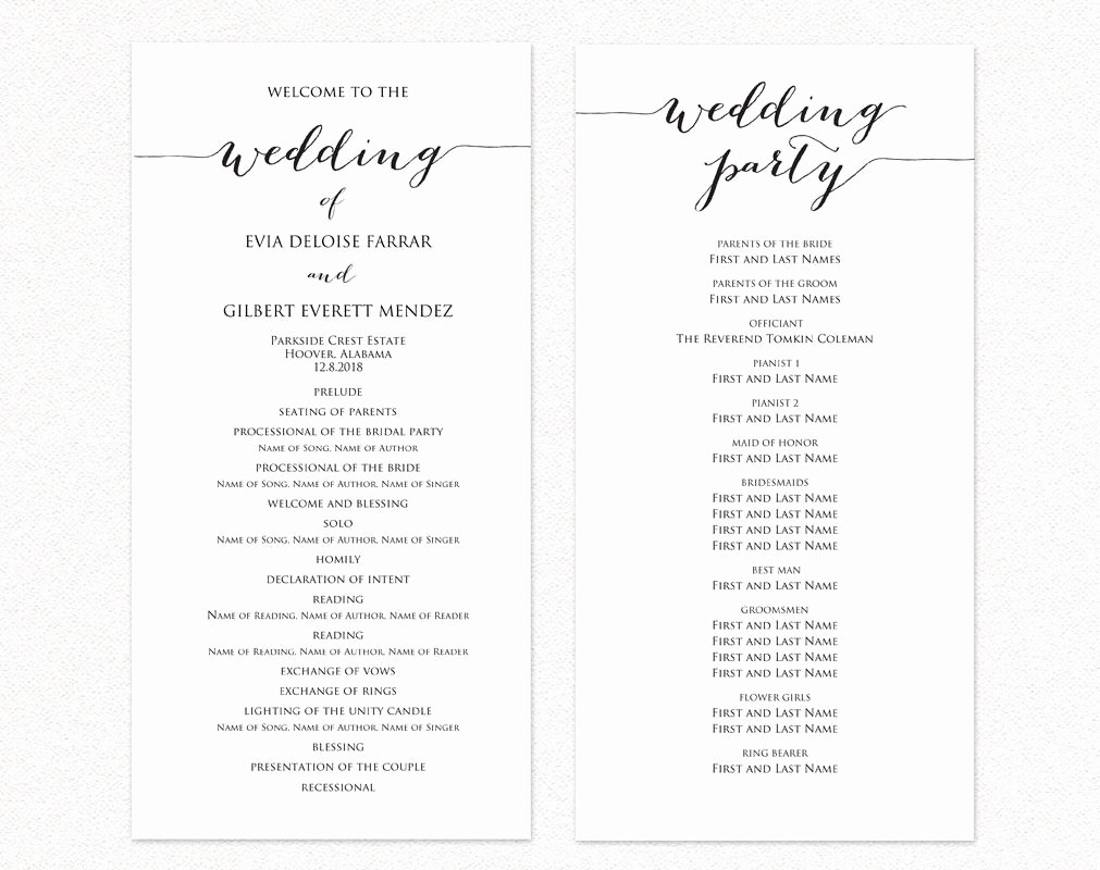 Free Wedding Program Template Downloads Inspirational Wedding Ceremony Program Templates · Wedding Templates and