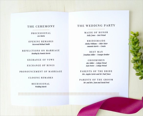 Free Wedding Program Template Downloads Unique 67 Wedding Program Template Free Word Pdf Psd