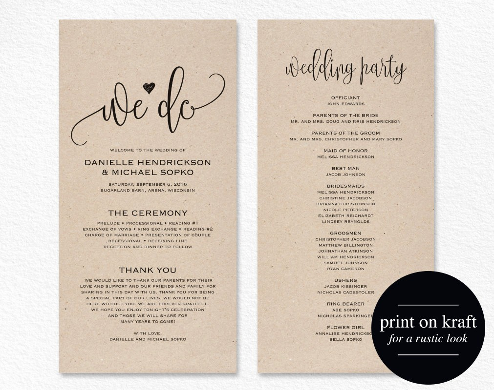 Free Wedding Program Template Downloads Unique Wedding Program Template Wedding Program Printable We Do