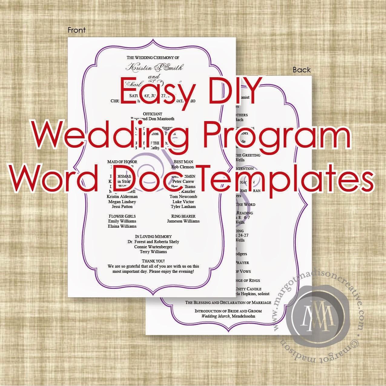 Free Wedding Templates Microsoft Word Fresh Margotmadison Diy Wedding Program Word Doc Templates now