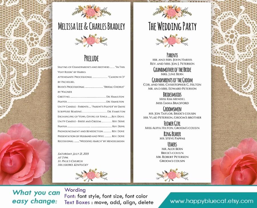 Free Wedding Templates Microsoft Word New Diy Printable Program Wedding Template Instant Download