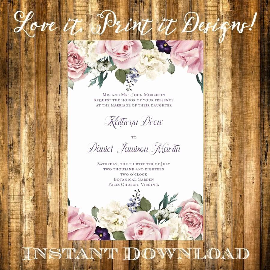 Free Wedding Templates Microsoft Word New Wedding Invitation Bridal Shower Diy Template Vintage