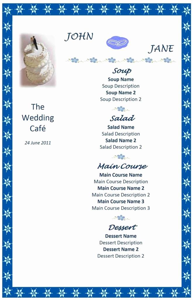Free Wedding Templates Microsoft Word Unique Wedding Menu