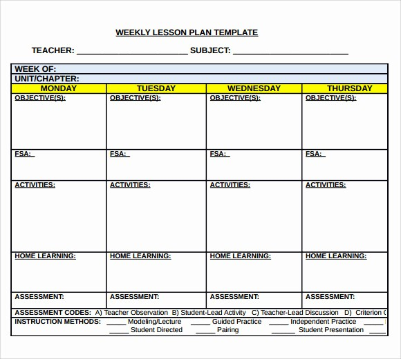 Free Weekly Lesson Plan Template Awesome 7 Middle School Lesson Plan Templates Download for Free