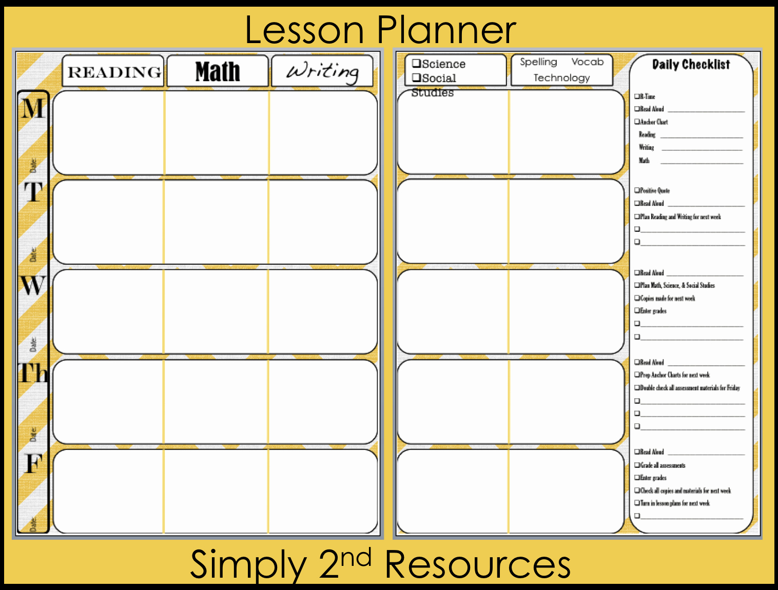 Free Weekly Lesson Plan Template Best Of Simply 2nd Resources Lesson Plan Template so Excited to
