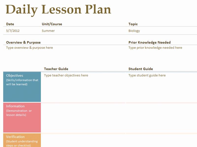 Free Weekly Lesson Plan Template Elegant Printable Lesson Plan Template Free to
