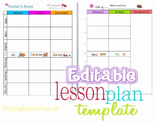 Free Weekly Lesson Plan Template Inspirational Cute Lesson Plan Template… Free Editable Download
