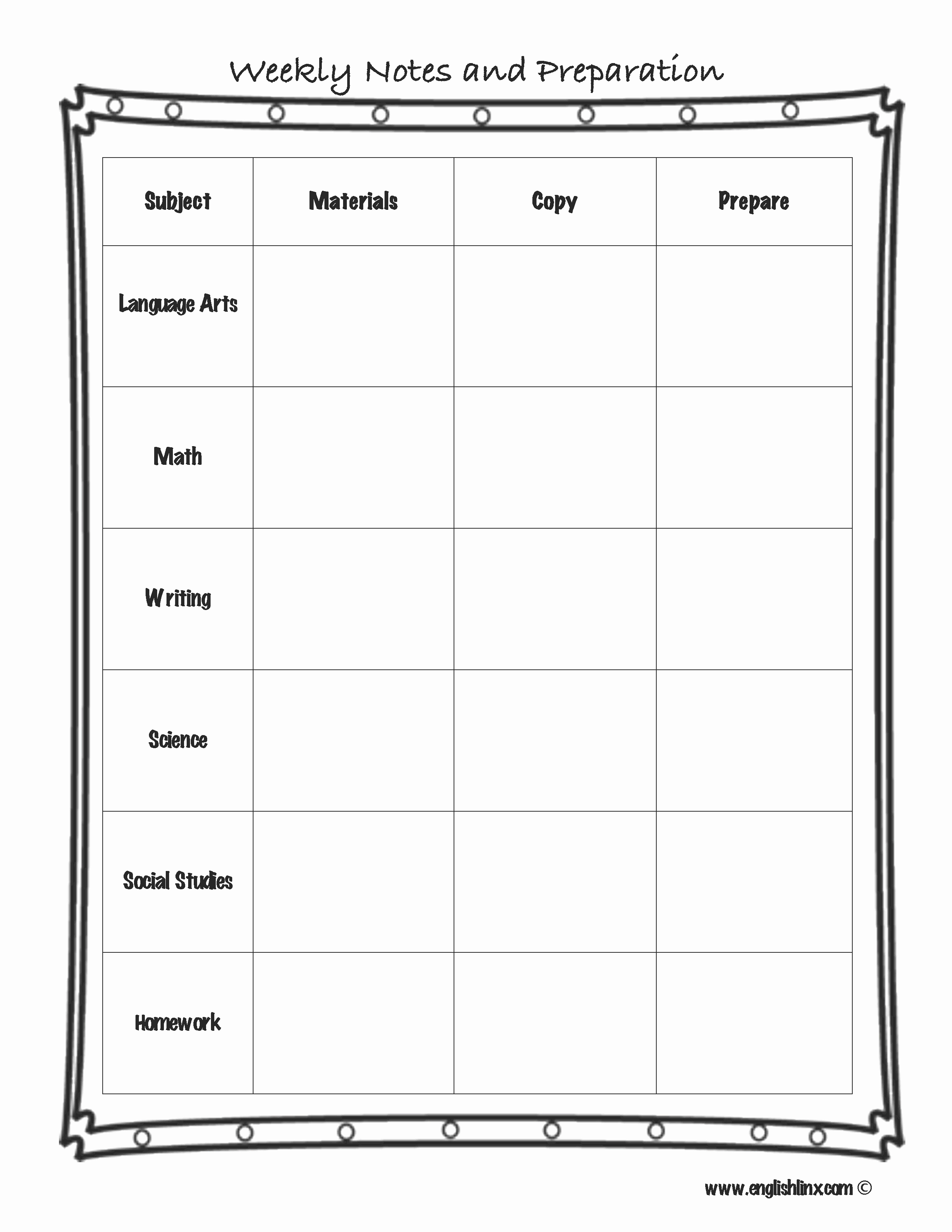 Free Weekly Lesson Plan Template Inspirational Englishlinx