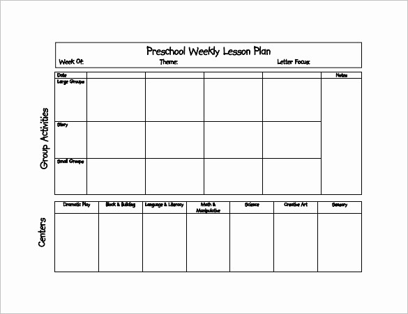 Free Weekly Lesson Plan Template New 21 Preschool Lesson Plan Templates Doc Pdf Excel