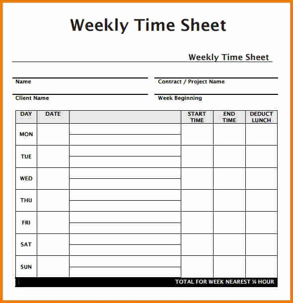 Free Weekly Time Card Template Awesome Weekly Timesheet Template