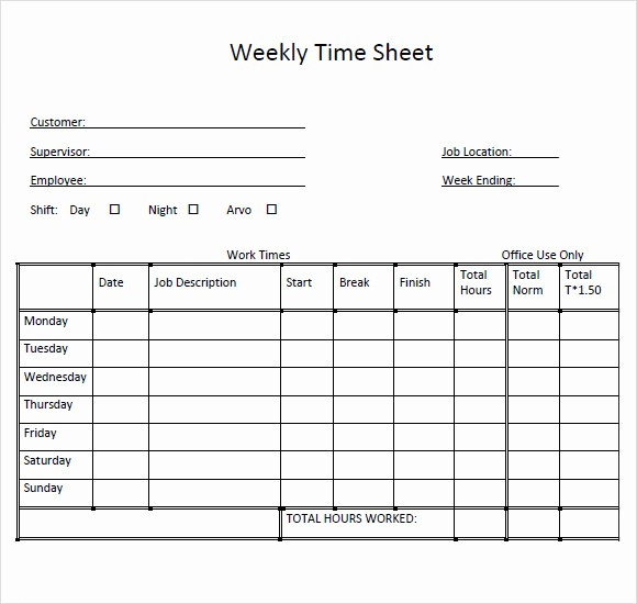 Free Weekly Time Card Template Elegant 10 Weekly Timesheet Templates