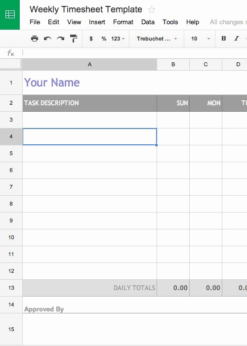 Free Weekly Time Card Template Elegant Free Weekly Timesheet Template for Google Docs Aka