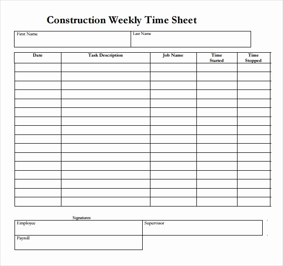 Free Weekly Time Card Template Fresh 22 Weekly Timesheet Templates – Free Sample Example