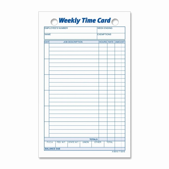 Free Weekly Time Card Template Fresh Printer