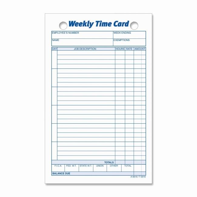 Free Weekly Time Card Template Fresh Printer