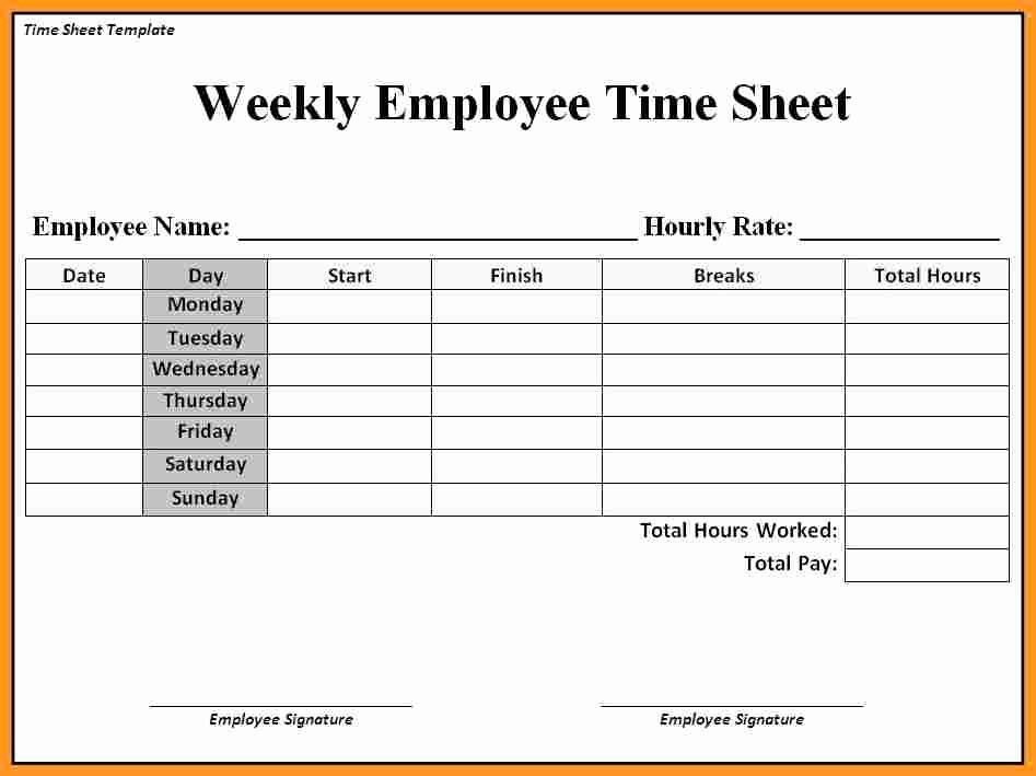 Free Weekly Time Card Template New Employee Timesheet Templates