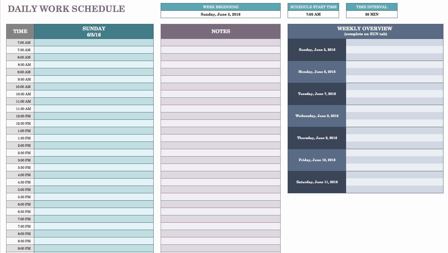 Free Weekly Work Schedule Template Elegant Free Daily Schedule Templates for Excel Smartsheet