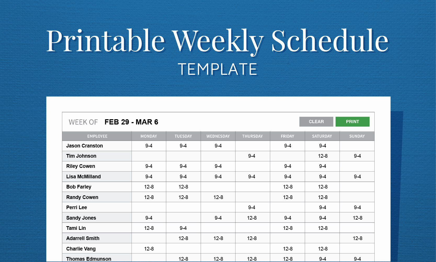 Free Weekly Work Schedule Template Fresh Free Printable Weekly Work Schedule Template for Employee