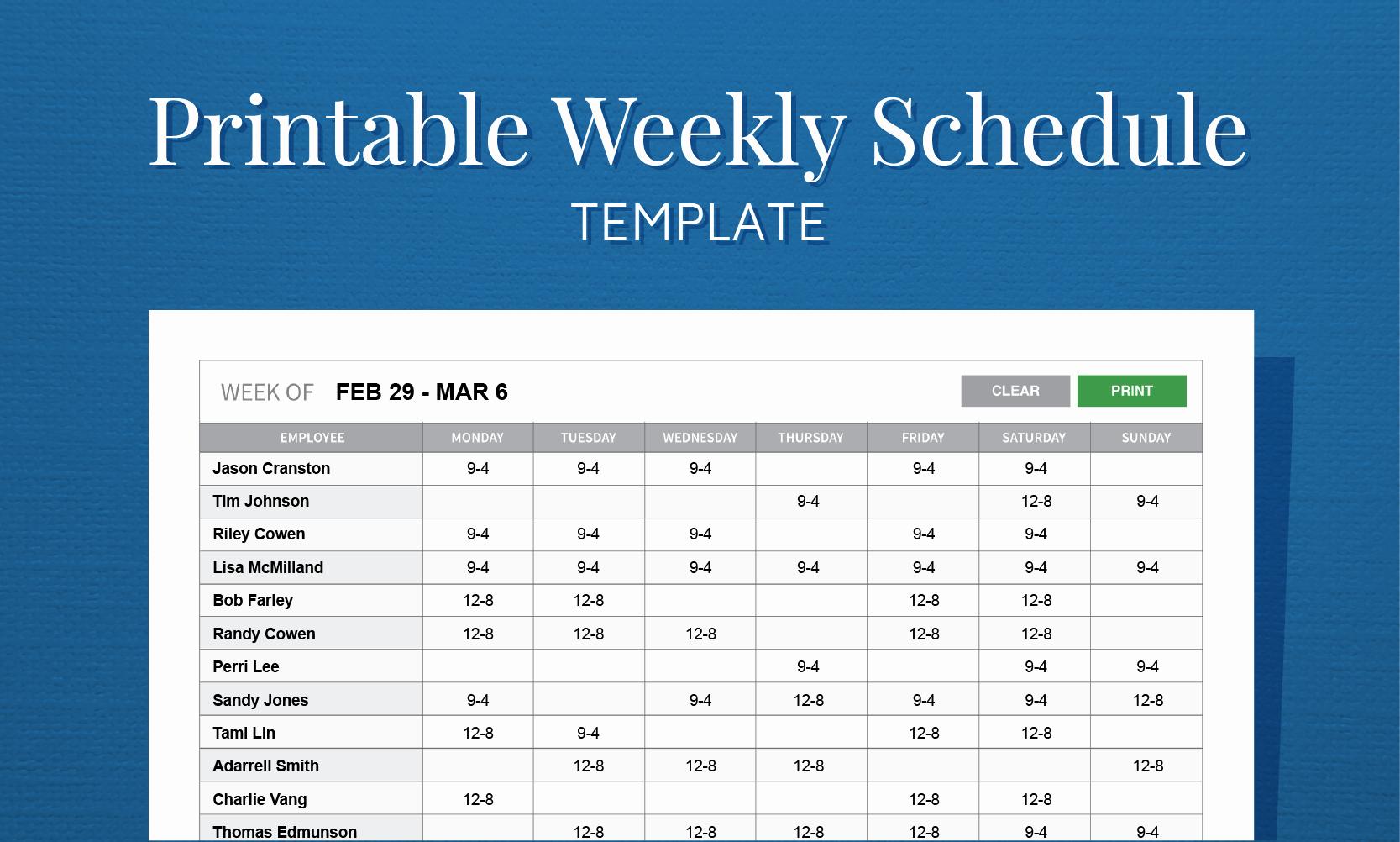 Free Weekly Work Schedule Template Fresh Free Printable Weekly Work Schedule Template for Employee