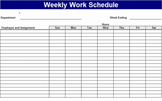 Free Weekly Work Schedule Template Inspirational Weekly Work Schedule Templates Free Download