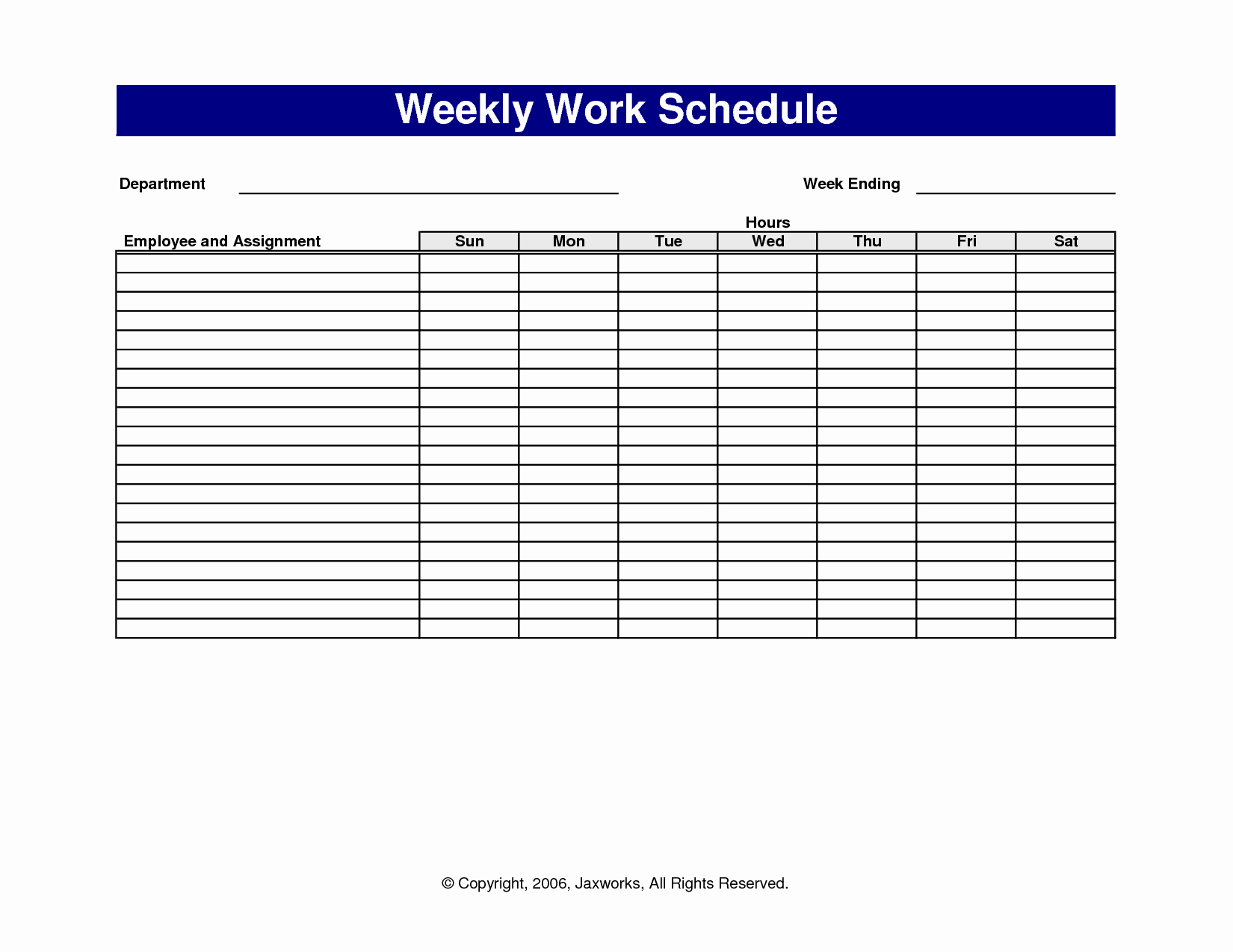 Free Weekly Work Schedule Template Lovely 6 Best Of Free Printable Fice forms Schedules