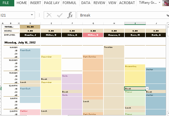 Free Weekly Work Schedule Template Lovely Employee Schedule & Hourly Increment Template for Excel