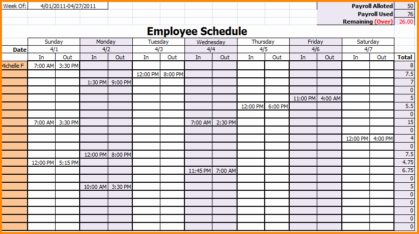 Free Weekly Work Schedule Template Luxury 7 Weekly Employee Schedule Template